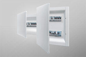 Flush and wall mounted switchboards for modular devices on Din35 rail